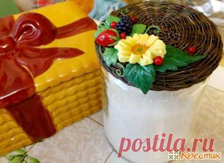 Плетёная крышечка для банок с цветами и ягодами из полимерной глины - Сам себе мастер - медиаплатформа МирТесен