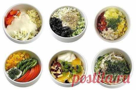Мини - салатики (6 самых вкусных вариантов):  1. ЭДЕЛЬВЕЙС Приятное сочетание вкусов. Cыр, курица, яйцо, помидор, майонез (сметана).  2. НЕЖНОСТЬ Пикантность этому салату придает сладкий чернослив. Курица, чернослив, яйцо, огурец, грецкий орех, йогурт.  3. НАСЛАЖДЕНИЕ Курица, ананас, болгарский перец, яблоко  4. ЛЕТНИЙ Летний вкус зимой и летом. Огурец, помидор, перец сладкий, майонез (сметана), зелень.  5. ФРУКТОВЫЙ Салат с экзотическим вкусом. Кусочки апельсина, ананаса,...