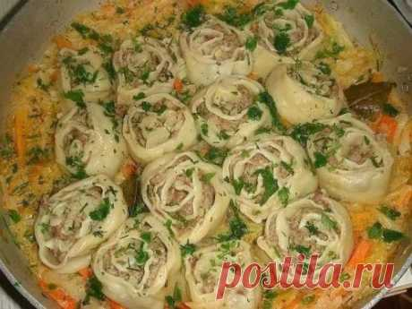 Ленивые вареники с грибами из картофельного теста