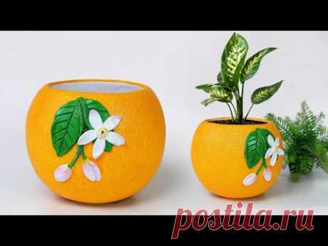 Orange shape Flower Vase making || Cement flower pot - सीमेंट फूल फूलदान बनाना