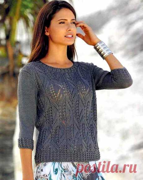 Пуловер из шелковой пряжи ажурным узором (Вязание спицами) – Журнал Вдохновение Рукодельницы