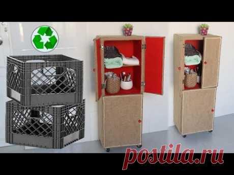 Amazing ! Recycle Diy Old Milk Crates into Furniture, Jute Craft ideas