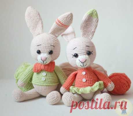 Пара зайцев амигуруми | Схемы амигуруми