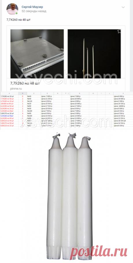 """Форма для стеариновый свечи 7,7 мм Х 260 мм на 48 шт: продажа, цена в Иванове. оборудование для производства свечей от """"Космос"""" - 383489378"""