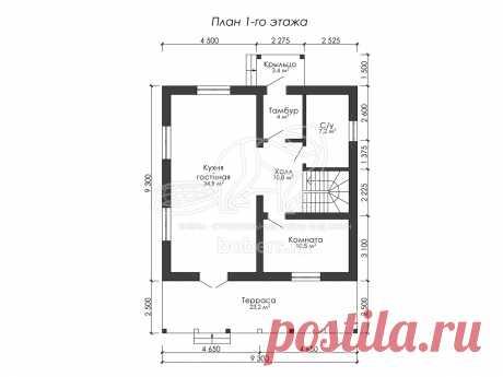 Проект полутораэтажного дома из блоков 9.3 на 9.3 м ДГ001 | Бобры