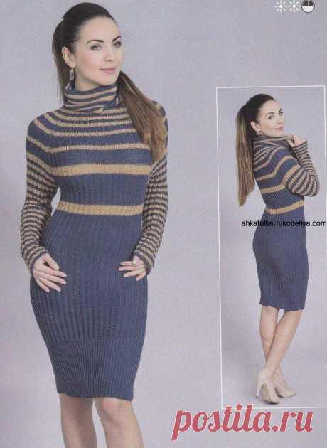 Платье в полоску спицами