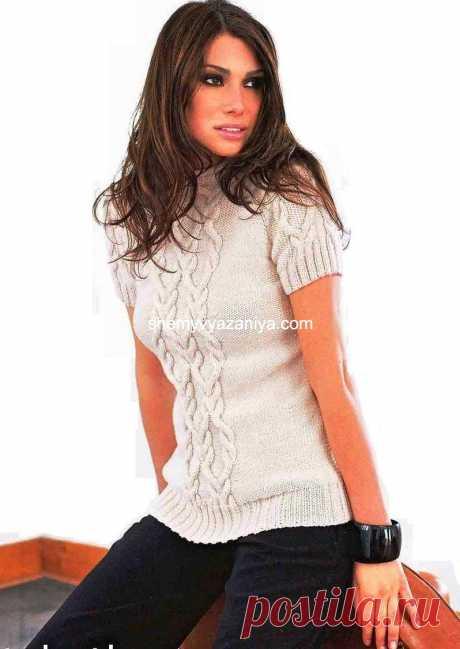 Пуловер, декорированный косами