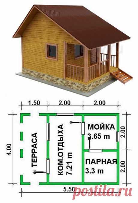 Схема-проект бани с террасой.