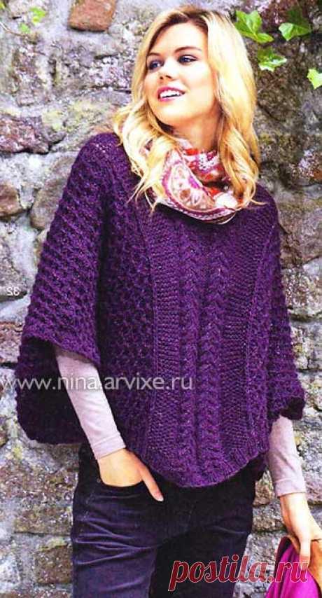 Вязание пончо пуловера спицами