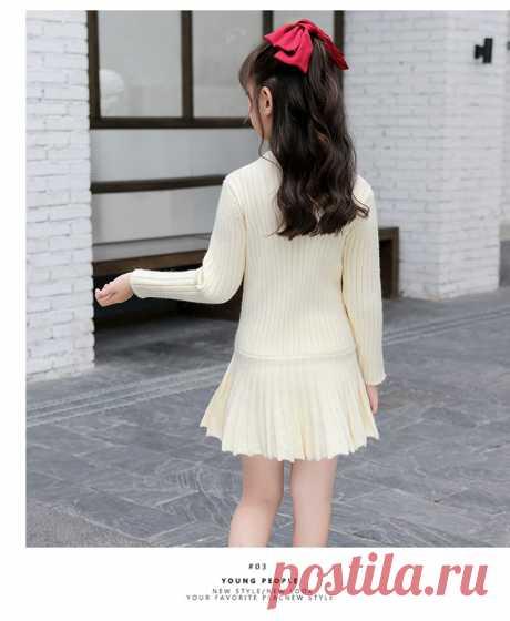 Зимнее платье для девочек, хлопковое вязаное платье, одежда для девочек подростков, одежда с длинным рукавом на весну и осень, элегантное плиссированное платье 4 14|Платья|