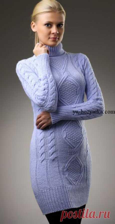 Красивое платье спицами с косами и ромбами. Стильное теплое платье своими руками. Красивое платье спицами с косами и ромбами. Вязаные платья – это отличное решение для холодного времени года. Вяжем платье спицами по схеме.
