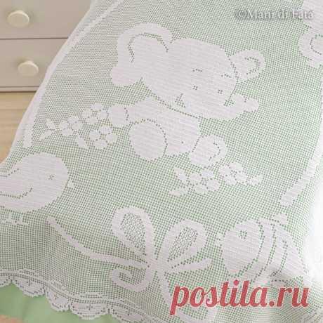 Схема реализации одеяла для детской кроватки из филе слона крючком и других животных.