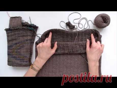 Вязание спицами по кругу СНИЗУ | Секреты моделирования бесшовного плечевого изделия - YouTube