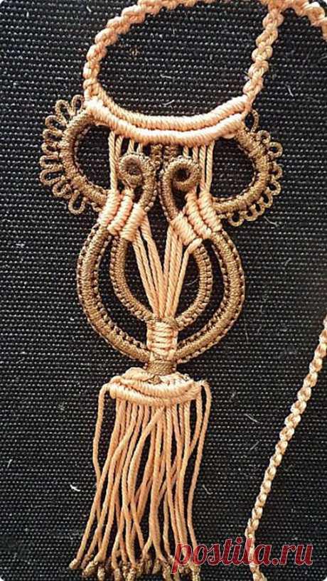 Нагрудное макраме - украшение «Арфа» - класс - Мастер - Изделия и узоры - Макрамеха