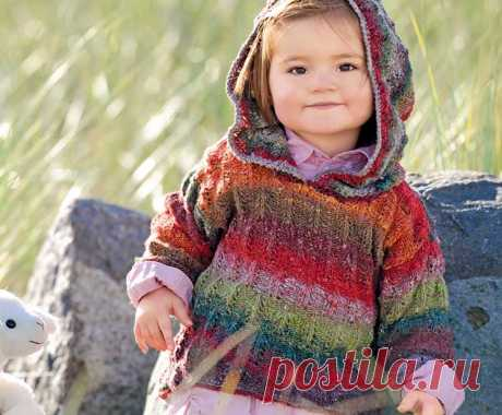 Меланжевый пуловер с капюшоном - схема вязания спицами с описанием на Verena.ru