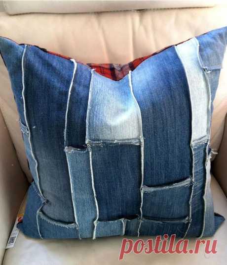 Как сшить подушки (или наволочки) из старых джинсов