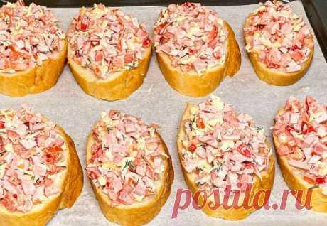 Сочная начинка на хрустящем батоне: бутерброды готовим вместо пиццы