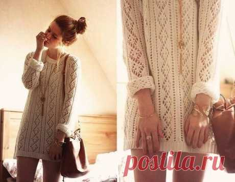 Pattern for a beautiful pullover of loose fit