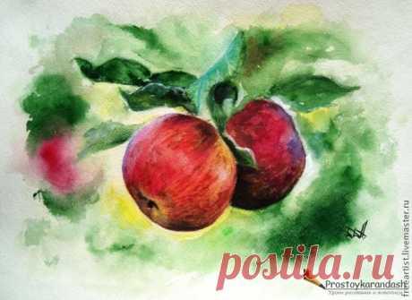 """Урок рисования: """"Яблочки"""" в технике сухая пастель-акварель — DIYIdeas"""