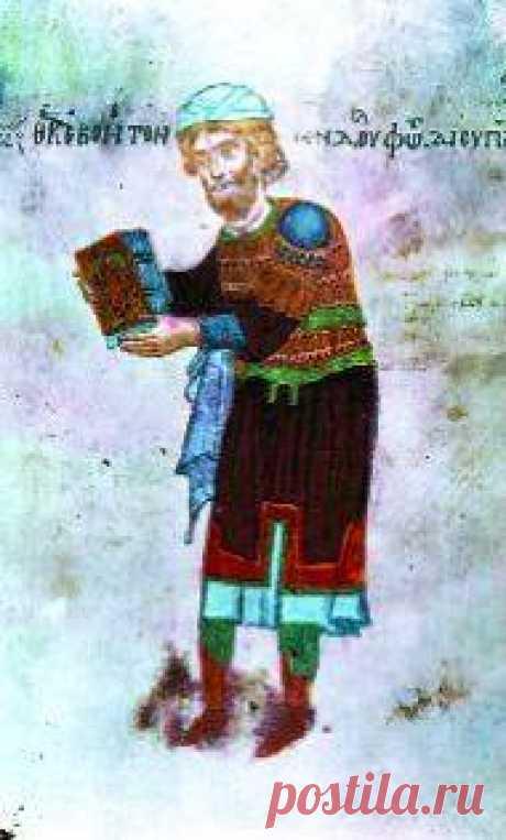 «Հովհաննես Պրոքսիմոս», մանրանկար «Ադրիանուպոլսի Ավետարանից» (1007 թ., գրիչ` Կիրակոս Երեց, Վենետիկի Սբ Ղազար վանքի մատենադարան)