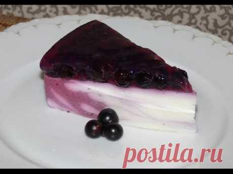 """Творожный желейный торт без выпечки """"Розовый мрамор"""" (рецепт видео) https://nashydetky.com"""