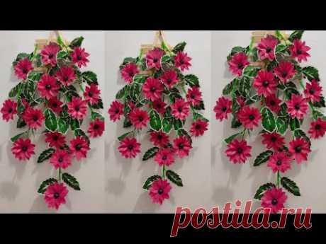 Как сделать подвесной цветок из полиэтиленового пакета | Цветочные поделки