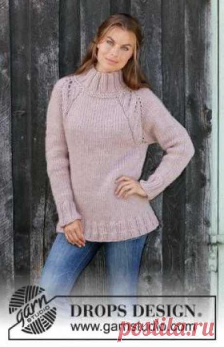 Свитер Теплая осень Лыжный женский свитер, связанный из очень толстой пряжи на спицах 10 мм. Вязание модели начинается от воротника, далее выполняется росток...