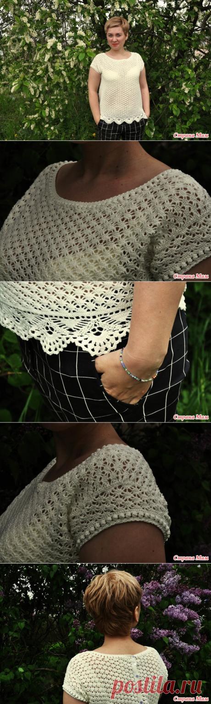 . La blusa-oversayz - Todo en azhure... (La labor de punto por el gancho) - el País de las Mamás