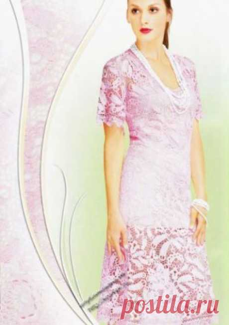 """Нарядное платье в технике ирландского кружева — работа Павленко Елены Нарядное платье связано в ручную крючком в стиле ирландского кружева. Платье связано из ниток """"Атлас"""" (очень тонких) искусственного шёлка. Нитки не линяют,"""