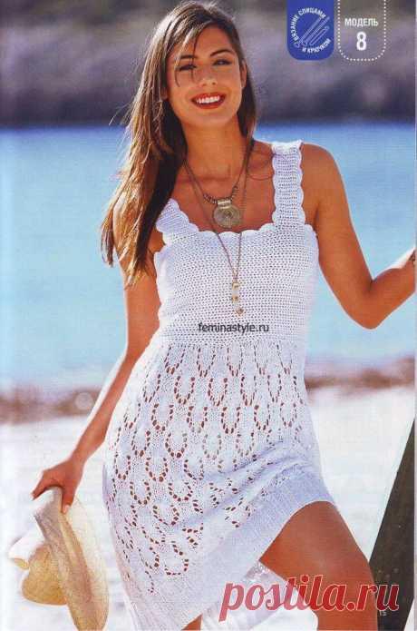 Белое летнее платье | Вязание крючком и спицами
