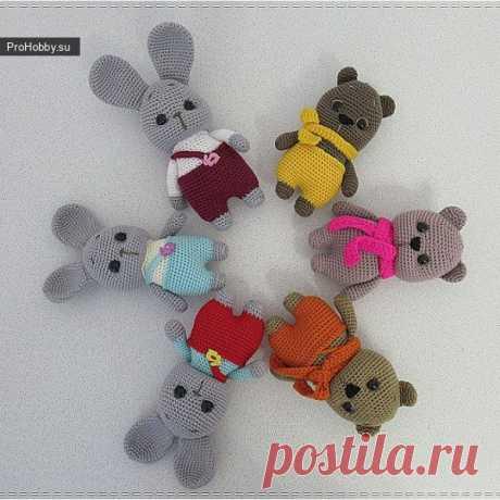 Зайчик-Мишка / Вязание игрушек / ProHobby.su | Вязание игрушек спицами и крючком для начинающих, мастер классы, схемы вязания