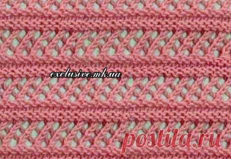 Узор 90 АЖУРНАЯ СЕТОЧКА с рельефными полосами   Салон эксклюзивного вязания