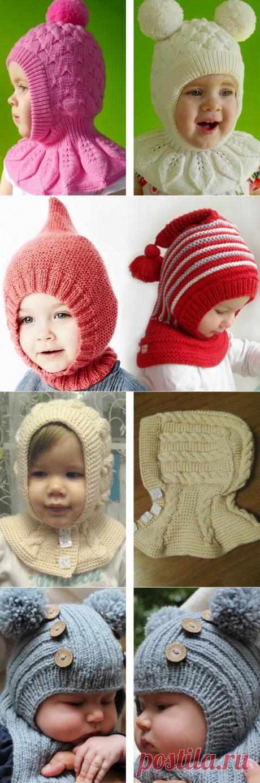 Вязаная спицами шапка-шлем для девочки и мальчика