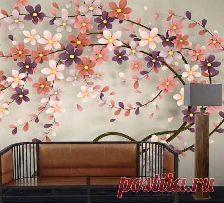 Фотообои с эффектом 3Д с изображением цветущего дерева