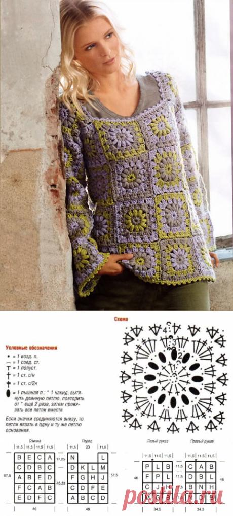 Кофта из бабушкиного квадрата Полевка крючком – схема вязания с описанием для начинающих и опытных