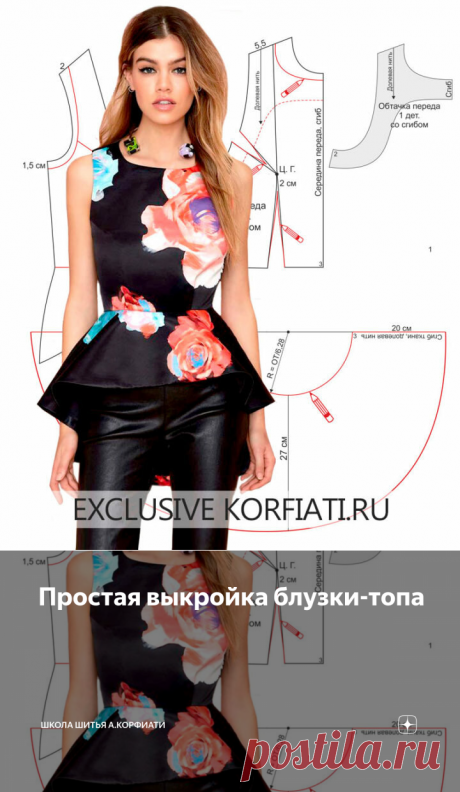 Простая выкройка блузки-топа | Школа Шитья А.Корфиати | Яндекс Дзен