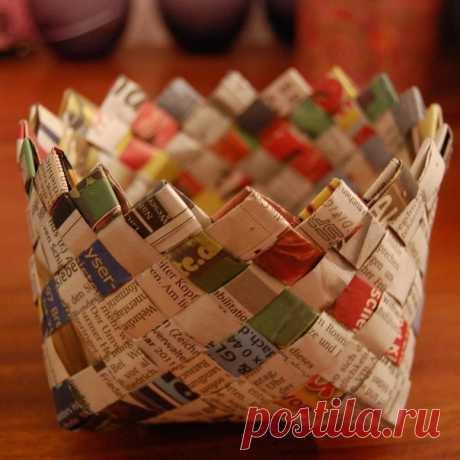 плетение корзиночки из газетных полосок
