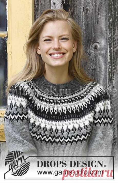 """Красивая женская модель свитера """"Ночные тени"""" с круглой жаккардовой кокеткой"""