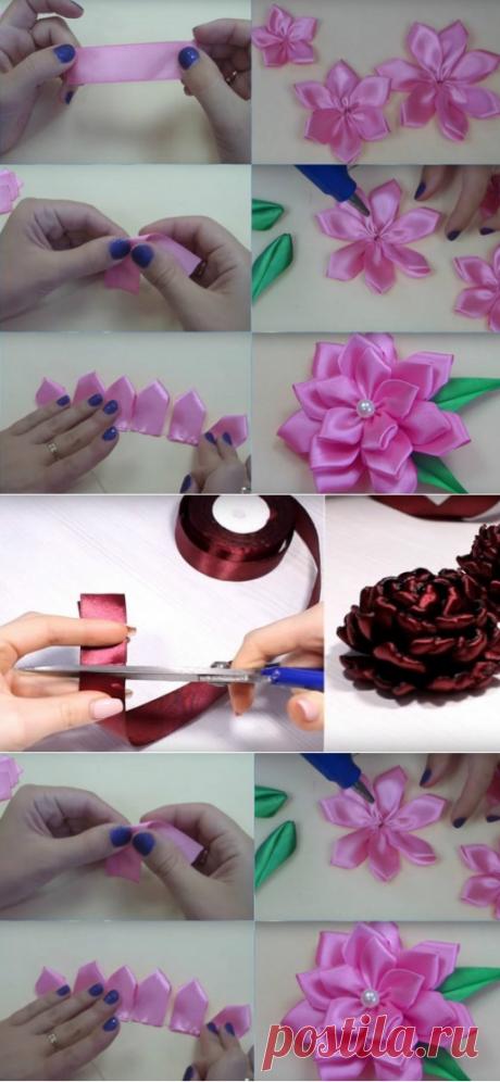 Таких цветов из атласных лент вы еще не видели! Ты с легкостью можешь сделать их своими руками