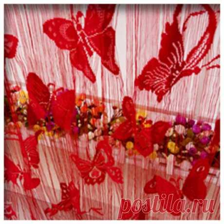 Нитяные шторы кисея бабочки красные арт.17. Размер 300x280.