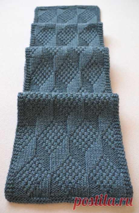 (367) Free Knitting Pattern for Reversible Asherton Scarf - This geometric tumbling blocks pattern looks the same on both sides. The geometric effect dep…