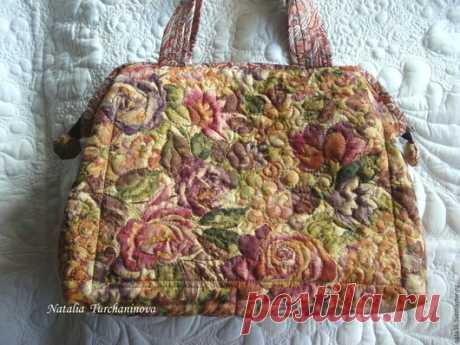 """Купить Текстильная, стеганая сумка """" Tuscany Noon"""" - комбинированный, цветочный, принт розы"""
