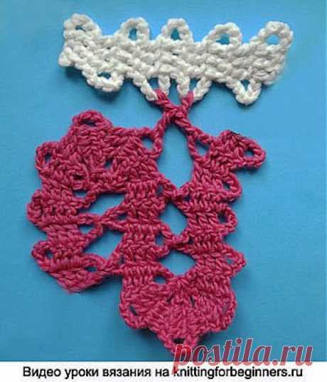 """We begin to knit – Video knitting lessons\"""" \""""Difficult columns in Bryuggsky lace\"""" – Video a lesson No. 2 – Knitting by a hook for beginners"""