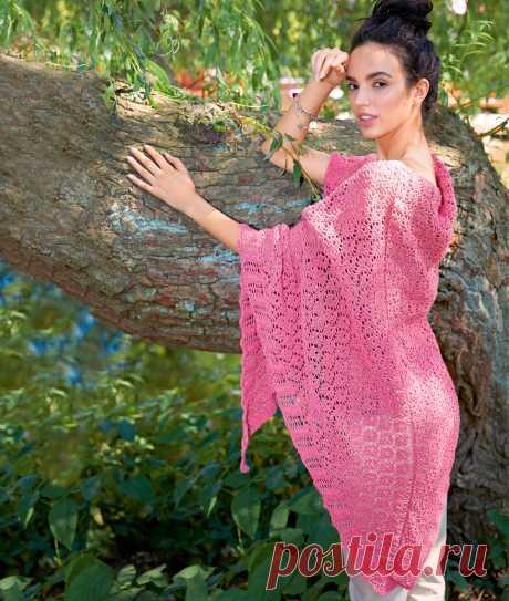 Розовая ажурная шаль - Verena.ru