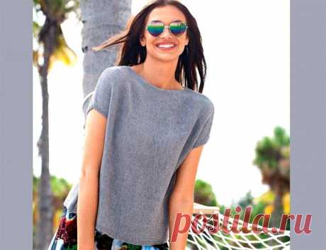 Top from thin wool - Knitted models spokes for women