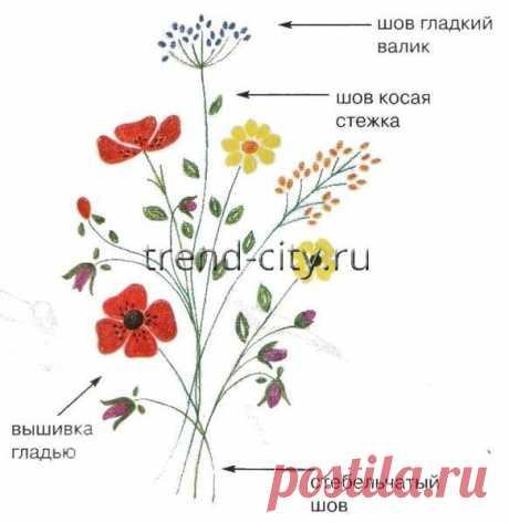 Схема вышивки гладью - Букет полевых цветов - вышивание на trend-city.ru