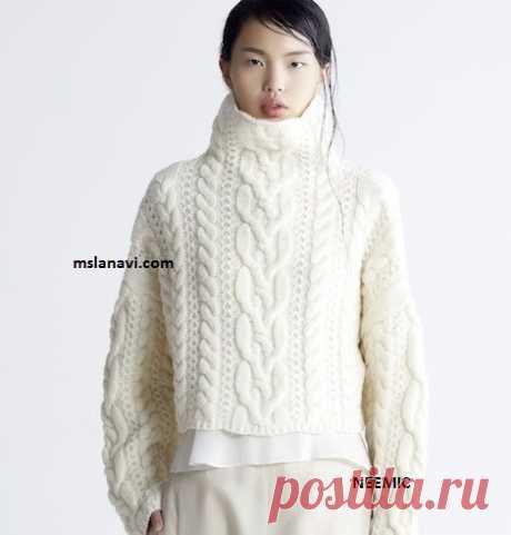 Модный свитер с аранами схема к основному мотиву | Вяжем с Лана Ви