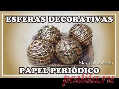 Esferas realizadas con papel periódico, decoradas con relieves en porcelana fría, puede ser usado como centro de mesa, espero te guste mi video me ayudes a c...