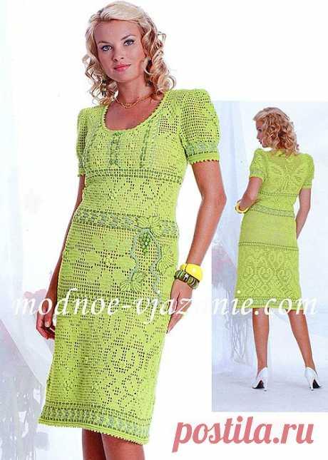 Платье с филейными узорами.