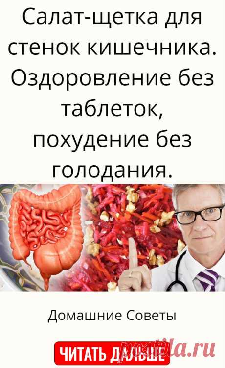 Салат-щетка для стенок кишечника. Оздоровление без таблеток, похудение без голодания.